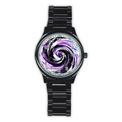 Canvas Acrylic Digital Design Stainless Steel Round Watch by Simbadda