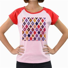 Plaid Triangle Sign Color Rainbow Women s Cap Sleeve T Shirt by Alisyart
