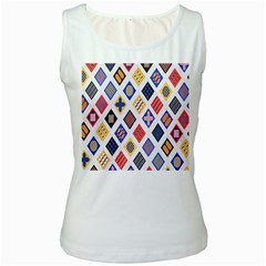 Plaid Triangle Sign Color Rainbow Women s White Tank Top by Alisyart