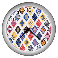 Plaid Triangle Sign Color Rainbow Wall Clocks (silver)  by Alisyart