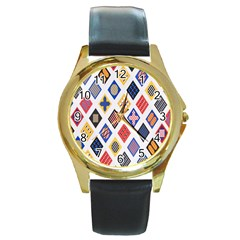 Plaid Triangle Sign Color Rainbow Round Gold Metal Watch by Alisyart