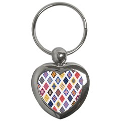 Plaid Triangle Sign Color Rainbow Key Chains (heart)  by Alisyart
