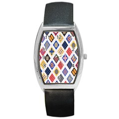 Plaid Triangle Sign Color Rainbow Barrel Style Metal Watch