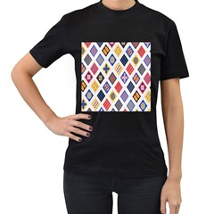 Plaid Triangle Sign Color Rainbow Women s T-shirt (black) (two Sided) by Alisyart