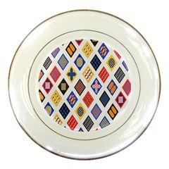 Plaid Triangle Sign Color Rainbow Porcelain Plates by Alisyart
