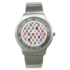 Plaid Triangle Sign Color Rainbow Stainless Steel Watch