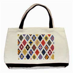 Plaid Triangle Sign Color Rainbow Basic Tote Bag by Alisyart