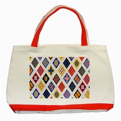 Plaid Triangle Sign Color Rainbow Classic Tote Bag (red) by Alisyart