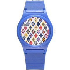 Plaid Triangle Sign Color Rainbow Round Plastic Sport Watch (s) by Alisyart