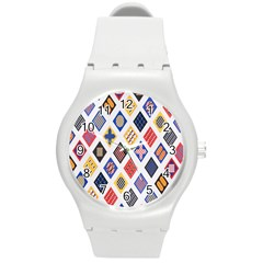 Plaid Triangle Sign Color Rainbow Round Plastic Sport Watch (m) by Alisyart