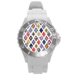 Plaid Triangle Sign Color Rainbow Round Plastic Sport Watch (l) by Alisyart