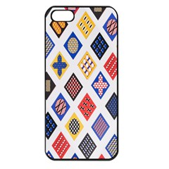 Plaid Triangle Sign Color Rainbow Apple Iphone 5 Seamless Case (black)