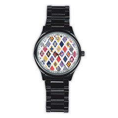 Plaid Triangle Sign Color Rainbow Stainless Steel Round Watch by Alisyart