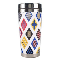 Plaid Triangle Sign Color Rainbow Stainless Steel Travel Tumblers by Alisyart
