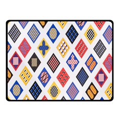 Plaid Triangle Sign Color Rainbow Double Sided Fleece Blanket (small)  by Alisyart