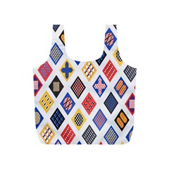 Plaid Triangle Sign Color Rainbow Full Print Recycle Bags (s)  by Alisyart
