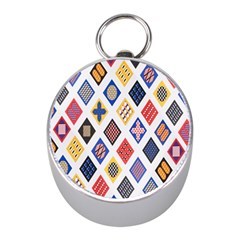 Plaid Triangle Sign Color Rainbow Mini Silver Compasses by Alisyart