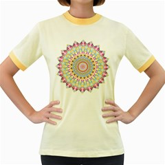 Kaleidoscope Star Love Flower Color Rainbow Women s Fitted Ringer T Shirts by Alisyart