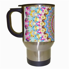 Kaleidoscope Star Love Flower Color Rainbow Travel Mugs (white)