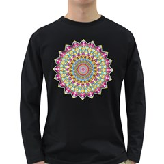 Kaleidoscope Star Love Flower Color Rainbow Long Sleeve Dark T Shirts by Alisyart