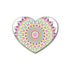 Kaleidoscope Star Love Flower Color Rainbow Rubber Coaster (heart)  by Alisyart