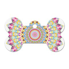 Kaleidoscope Star Love Flower Color Rainbow Dog Tag Bone (two Sides) by Alisyart