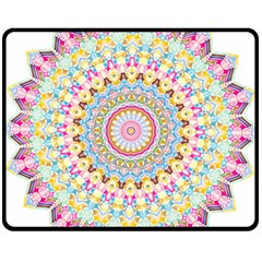 Kaleidoscope Star Love Flower Color Rainbow Fleece Blanket (medium)  by Alisyart
