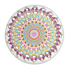 Kaleidoscope Star Love Flower Color Rainbow Ornament (round Filigree) by Alisyart