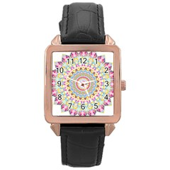 Kaleidoscope Star Love Flower Color Rainbow Rose Gold Leather Watch  by Alisyart