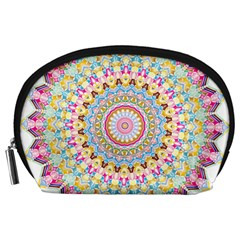 Kaleidoscope Star Love Flower Color Rainbow Accessory Pouches (large)  by Alisyart