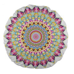 Kaleidoscope Star Love Flower Color Rainbow Large 18  Premium Flano Round Cushions by Alisyart