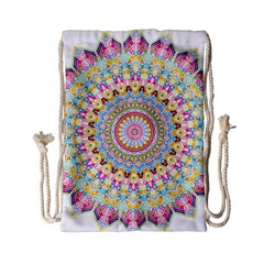 Kaleidoscope Star Love Flower Color Rainbow Drawstring Bag (small)