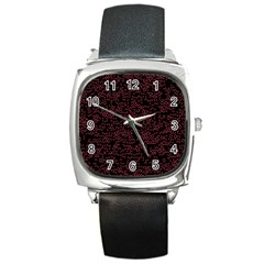 Random Pink Black Red Square Metal Watch by Alisyart