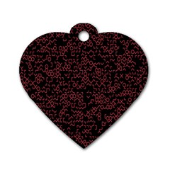 Random Pink Black Red Dog Tag Heart (two Sides)