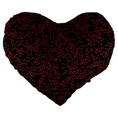 Random Pink Black Red Large 19  Premium Flano Heart Shape Cushions by Alisyart