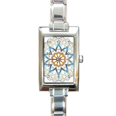 Prismatic Flower Floral Star Gold Green Purple Orange Rectangle Italian Charm Watch by Alisyart