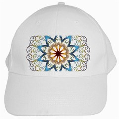 Prismatic Flower Floral Star Gold Green Purple Orange White Cap by Alisyart