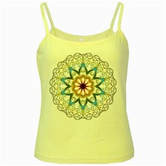 Prismatic Flower Floral Star Gold Green Purple Orange Yellow Spaghetti Tank by Alisyart