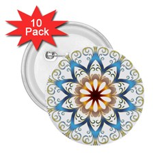 Prismatic Flower Floral Star Gold Green Purple Orange 2 25  Buttons (10 Pack)