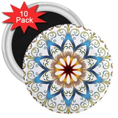 Prismatic Flower Floral Star Gold Green Purple Orange 3  Magnets (10 Pack)  by Alisyart
