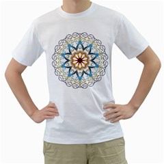 Prismatic Flower Floral Star Gold Green Purple Orange Men s T Shirt (white) (two Sided) by Alisyart