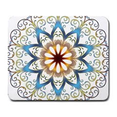 Prismatic Flower Floral Star Gold Green Purple Orange Large Mousepads by Alisyart