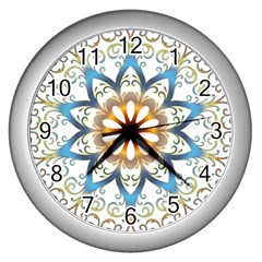 Prismatic Flower Floral Star Gold Green Purple Orange Wall Clocks (silver)  by Alisyart