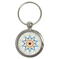Prismatic Flower Floral Star Gold Green Purple Orange Key Chains (round)  by Alisyart