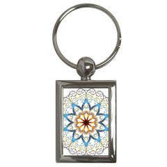 Prismatic Flower Floral Star Gold Green Purple Orange Key Chains (rectangle)  by Alisyart