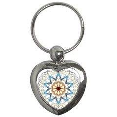 Prismatic Flower Floral Star Gold Green Purple Orange Key Chains (heart)  by Alisyart