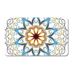 Prismatic Flower Floral Star Gold Green Purple Orange Magnet (rectangular) by Alisyart