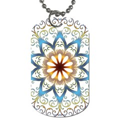 Prismatic Flower Floral Star Gold Green Purple Orange Dog Tag (one Side) by Alisyart
