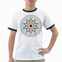 Prismatic Flower Floral Star Gold Green Purple Orange Ringer T Shirts