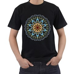 Prismatic Flower Floral Star Gold Green Purple Orange Men s T Shirt (black) (two Sided) by Alisyart